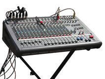 Electronic soundboard mixer console desk with cables isolated Royalty Free Stock Photo
