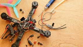Drone - Electronic speed control ESC replacing after crash Royalty Free Stock Photography