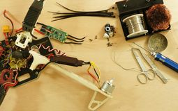 Drone - Electronic speed control ESC replacing after crash Stock Images