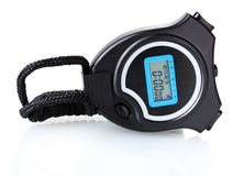 Electronic sport timer. Over the white Stock Photo