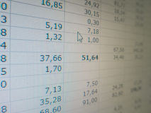 Electronic spreadsheet Royalty Free Stock Photography