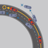 Electronic Stability Control (ESC) of motor vehicle, image illustration Royalty Free Stock Images