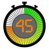 Electronic stopwatch with a gradient dial starting with green. 45 seconds. Electronic stopwatch with a gradient dial starting with green. 45 royalty free illustration