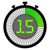 Electronic stopwatch with a gradient dial starting with green. 15 seconds. Electronic stopwatch with a gradient dial starting with green. 15 sec Royalty Free Stock Photo