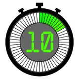 Electronic stopwatch with a gradient dial starting with green. 10 seconds Stock Images