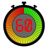 Electronic stopwatch with a gradient. 60. Electronic stopwatch with a gradient dial starting with green. 60 royalty free illustration