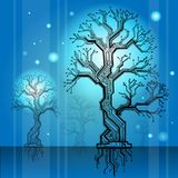Board - tree scheme cyan. electronic structure. Electronic structure as construction model in the form of a tree with a cyan background stock illustration