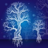 White forest. board - the scheme dark blue electronic structure. Electronic structure as construction model in the form of a tree with a dark blue background Stock Photos