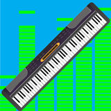 Electronic synthesizer isolated. Piano instrument and synthesizer with keyboard, vector illustration Stock Photos