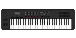 Electronic Synthesizer Piano Keyboard Isolated. On white background. 3D render Royalty Free Stock Photos