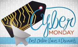 Electronic Tag with a Pointer Celebrating Cyber Monday, Vector Illustration Stock Photos