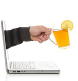 Electronic tea drinking. Stock Photography