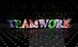 Electronic teamwork text, 3d render. Working Royalty Free Stock Photo