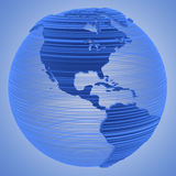 Electronic Tech Earth Globe. Electronic Technology Telecommunications Blue Earth Globe on a gradient background. Americas, western hemisphere vector illustration