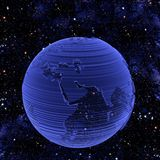 Electronic Tech Earth Globe. Electronic Technology Telecommunications Blue Earth Globe on a gradient background. Clipping path. Eastern hemisphere royalty free illustration