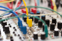 Electronic, technology and cables - analog synthesizer Royalty Free Stock Image