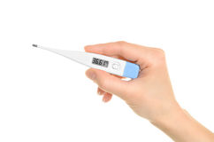 Electronic thermometer in hand Royalty Free Stock Photo