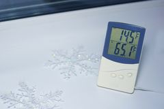 The electronic thermometer is located on the windowsill royalty free stock photography