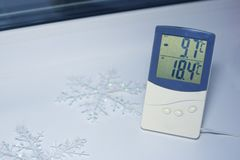Electronic thermometer is on the windowsill stock image