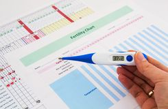 Electronic thermometer in woman hand Royalty Free Stock Photos