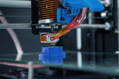 Electronic three dimensional plastic printer during work , 3D , printing. Electronic three dimensional plastic printer during work , 3D printer, 3D printing royalty free stock images