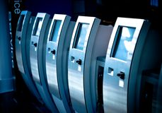 Electronic ticket dispensers Royalty Free Stock Photos