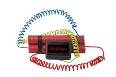 Electronic time bomb. On white background Royalty Free Stock Photo