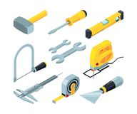 Electronic tools for construction. Isometric pictures set vector illustration