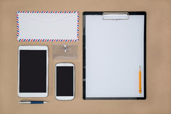 Electronic tools in every day life, smart phone tablet Royalty Free Stock Photo