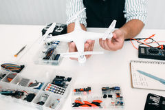Electronic toy repair shop with drone Royalty Free Stock Photography