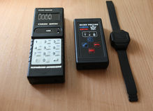 The electronic tracking bracelet convicted. St. Petersburg, Russia - April 26 2012: Presentation of the electronic bracelet and tracking system for  convicted Stock Photo