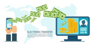 Electronic transfer money. Using mobile device, computer and smart phone with banking payment app. Internet banking, contactless payment, financial transactions Stock Photography