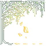 Electronic tree. With yellow and green leaves in a vector stock illustration