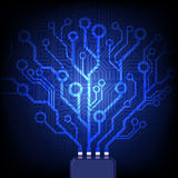 Electronic tree. Vector circuit board background. Stock Photos