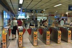 Electronic turnstile gates at an MRT station in Bangkok. Stock Photo