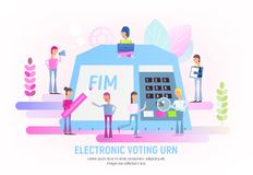Electronic Urn. People Make Choices Using Electronic Urn. Modern Electronic Voting System for Election. Vector Illustration for Web Page, Website, Banner, Social vector illustration