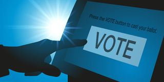 Electronic voting for the US elections flag royalty free stock images