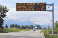 Electronic Wait Time Notification. A sign indicates wait time at the British Columbia and Washington State border crossing Royalty Free Stock Photography