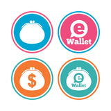 Electronic wallet icons. Dollar cash bag sign. Royalty Free Stock Photography