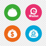 Electronic wallet icons. Dollar cash bag sign. Royalty Free Stock Images