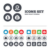 Electronic wallet icons. Dollar cash bag sign Royalty Free Stock Photos