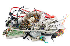 Electronic waste. Small heap of mixed electronic waste Royalty Free Stock Image