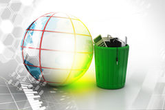 Electronic waste with globe Stock Images