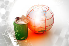 Electronic waste with globe Royalty Free Stock Photos