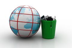 Electronic waste with globe Royalty Free Stock Images