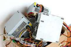 Electronic Waste. In old cardboard box royalty free stock photography