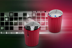 Electronic waste with plastic waste in green trash can Royalty Free Stock Image