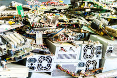 Electronic waste ready for recycling. (mainboard computer stock image