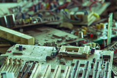 Electronic waste ready for recycling. Mainboard computer-Viltage filter stock photos