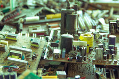 Electronic waste ready for recycling-Viltage filter. Electronic waste ready for recyclingmainboard computer-Viltage filter stock photography